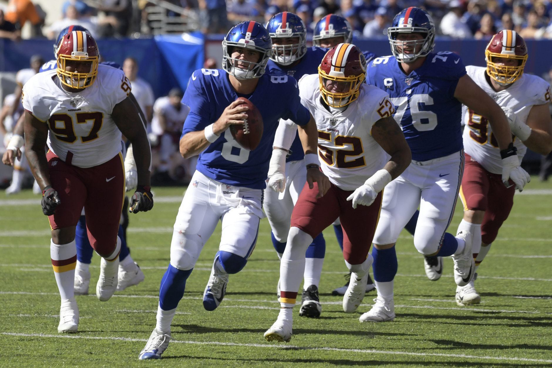 """<p><b><i>Redskins 3</i></b><br /> <b><i>Giants 24</i></b></p> <p>A week after <a href=""""https://profootballtalk.nbcsports.com/2019/09/22/daniel-jones-uses-magic-four-letter-word-to-get-giants-going/"""">jump-starting the Giants with his potty mouth</a>, Daniel Jones became the first Giants rookie QB to win his first two starts since Phil Simms in 1979 … and on the same day fellow first-round rookie Dwayne Haskins became the first &#8216;Skins QB to throw a Pick-6 in his first career game since Stan Humphries in 1989. With the 4-0 Patriots set to invade FedEx Field, this <a href=""""https://twitter.com/granthpaulsen/status/1176476033018671105?s=21"""">already-miserable stretch</a> will extend to 0-5 and Jay Gruden&#8217;s tenure will almost certainly end before a battle of winless teams in Miami. Book it.</p>"""