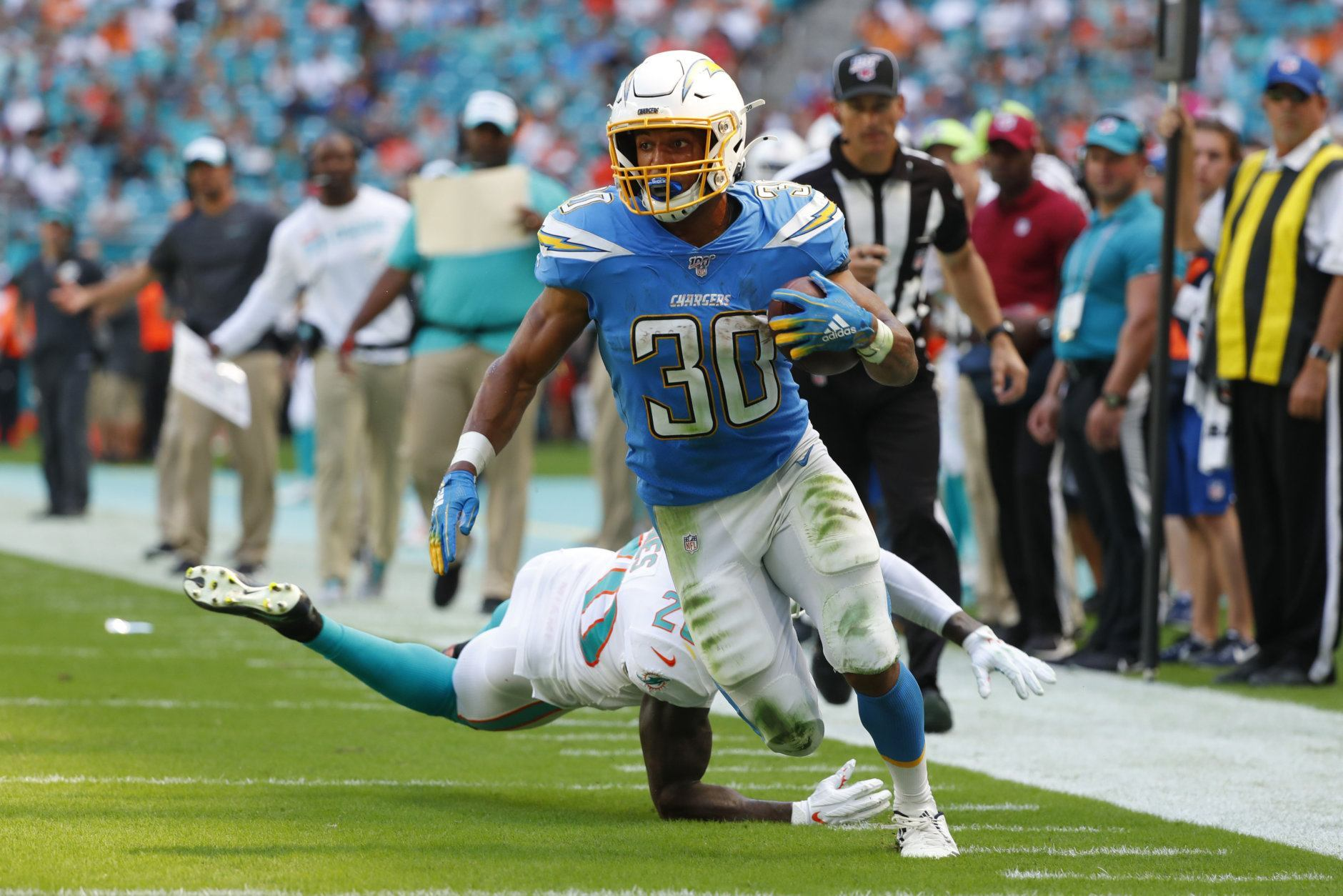 """<p><b><i>Chargers 30</i></b><br /> <b><i>Dolphins 10</i></b></p> <p>For those keeping score at home, Miami has been outscored 163-26 this season (the worst four-game point differential since at least 1940) and <a href=""""https://profootballtalk.nbcsports.com/2019/09/25/south-floridians-arent-watching-dolphins-games/"""">nobody in South Florida cares to watch</a> this obvious tank-job. The Chargers&#8217; first road win of the Dolphins since their<a href=""""https://www.youtube.com/watch?v=-SdBOT_FTio"""">iconic playoff matchup 37 years ago</a> was basically a gift.</p>"""