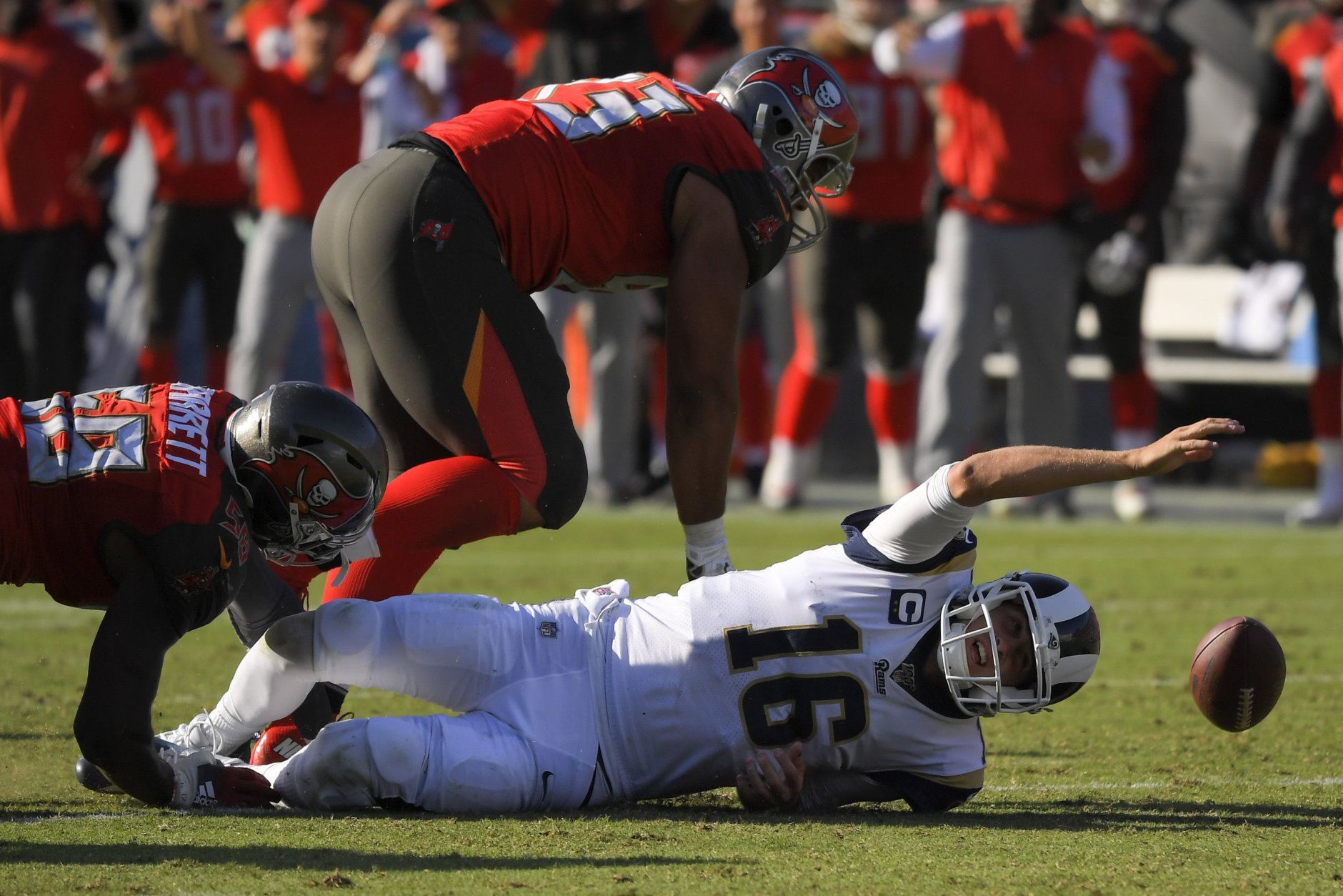 <p><b><i>Bucs 55</i></b><br /> <b><i>Rams 40</i></b></p> <p>Jared Goff threw for the eighth-most yards in NFL history but he turned the ball over four times and his defense allowed the most points scored on the Rams in 63 years. Are the Bucs actually good or is this an aberration? We&#8217;ll find out in New Orleans next week.</p>