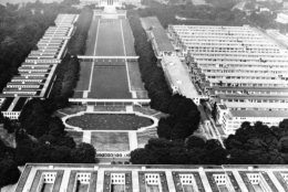 <p>Many pictures have been taken from the top of the Washington Monument, too. This one, taken in 1944, shows how many &#8220;tempos&#8221; — temporary government buildings — were on the National Mall during World War II.</p>
