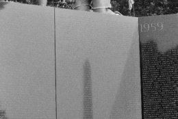 <p>At the right angle, the monument is reflected in the Vietnam War Memorial. This can lead to some nice shots.</p>