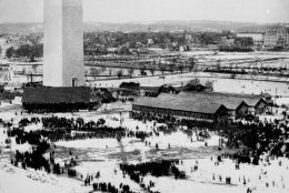 <p>A trio of images of the early days of the Washington Monument. The National Park Service said it was built in two phases: &#8220;one private (1848-1854) and one public (1876-1884).&#8221;</p>