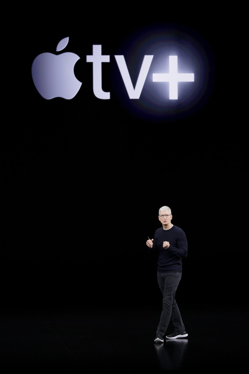Apple CEO Tim Cook announces Apple TV+ during an new product event Tuesday, Sept. 10, 2019, in Cupertino, Calif. (AP Photo/Tony Avelar)