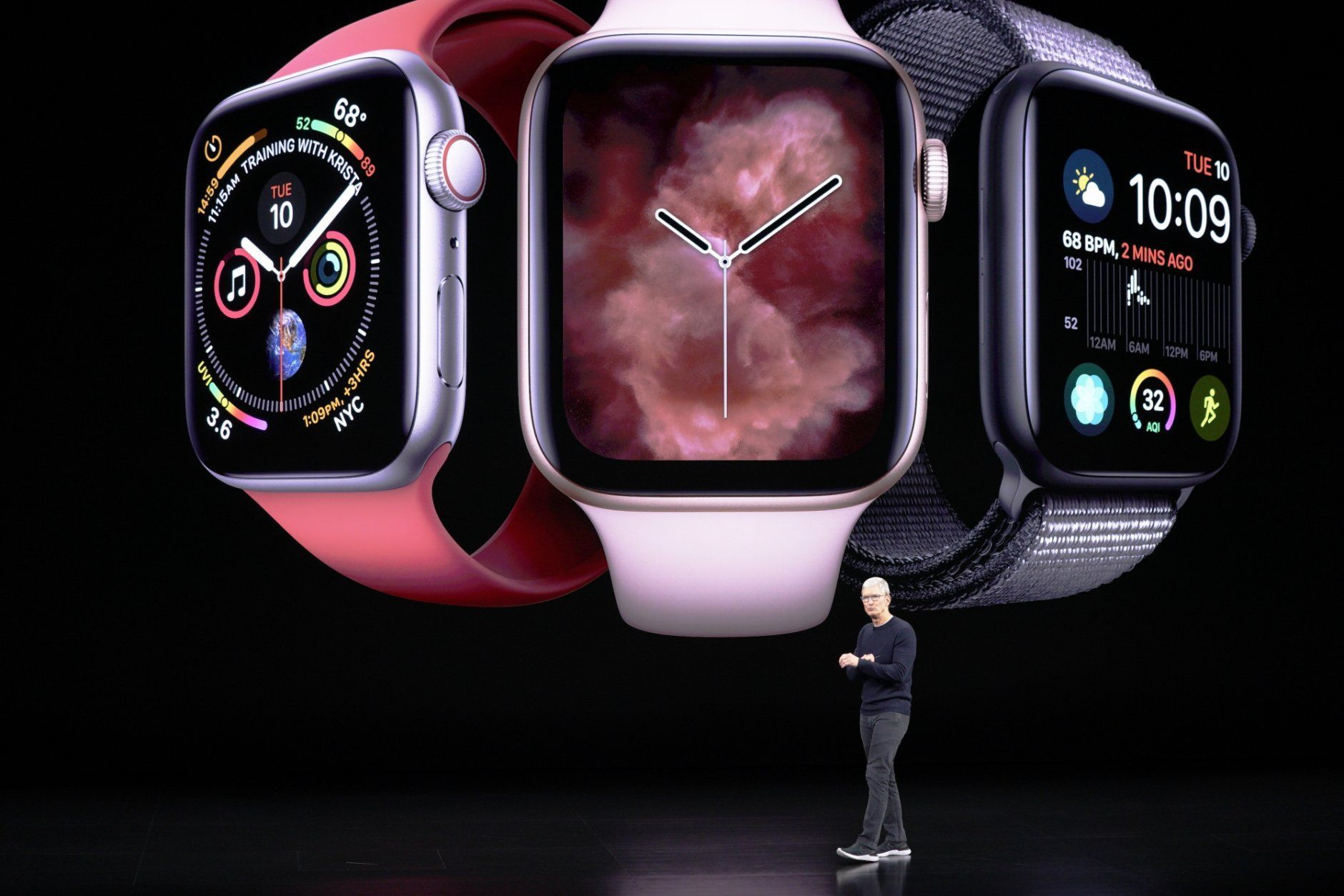 Apple CEO Tim Cook talks about the Apple watch during a new product event Tuesday, Sept. 10, 2019, in Cupertino, Calif. (AP Photo/Tony Avelar)