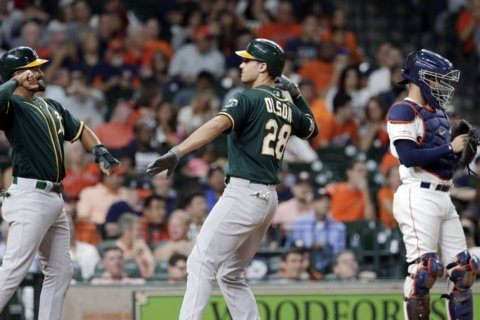 Olson, Athletics top Astros 3-2, take over AL wild-card lead