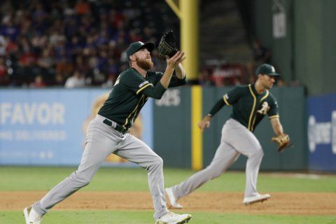 Four home runs carry Athletics to 8-6 win over Rangers