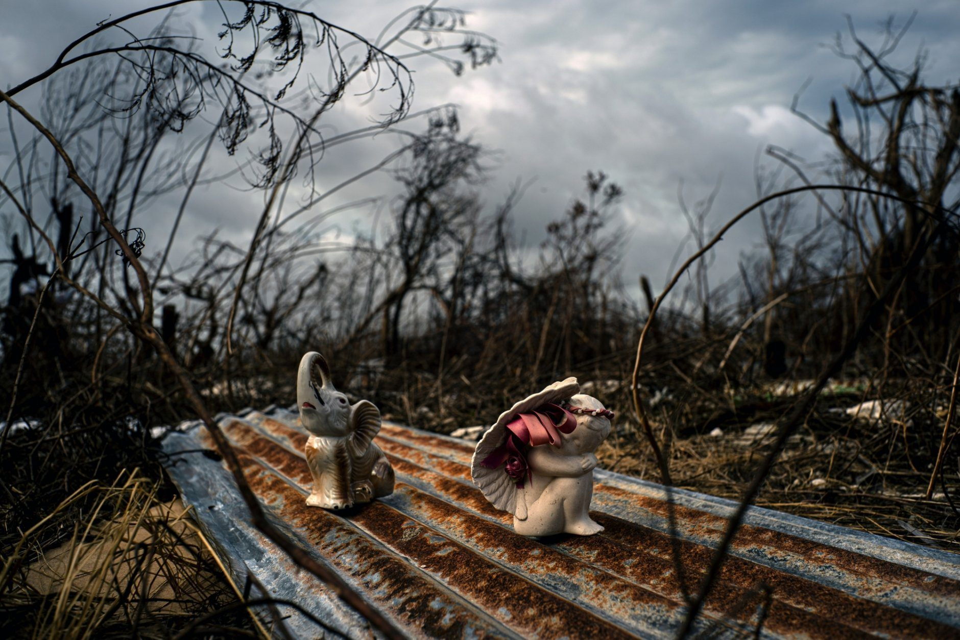 Porcelain figures rest among the remains of a shattered house at the aftermath of Hurricane Dorian in Freetown, Grand Bahama, Bahamas, Friday Sept. 13, 2019. (AP Photo/Ramon Espinosa)