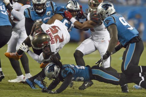 Bucs use goal-line stand to beat Panthers 20-14