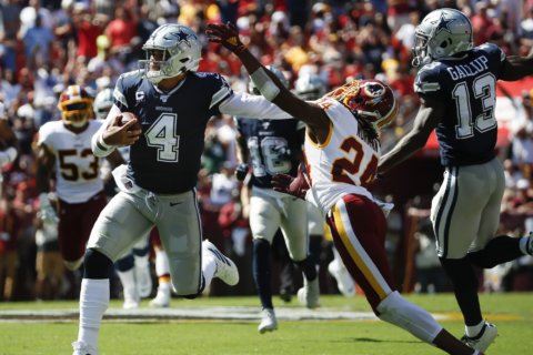 Dak double: Cowboys' Prescott beats Redskins with legs, arm
