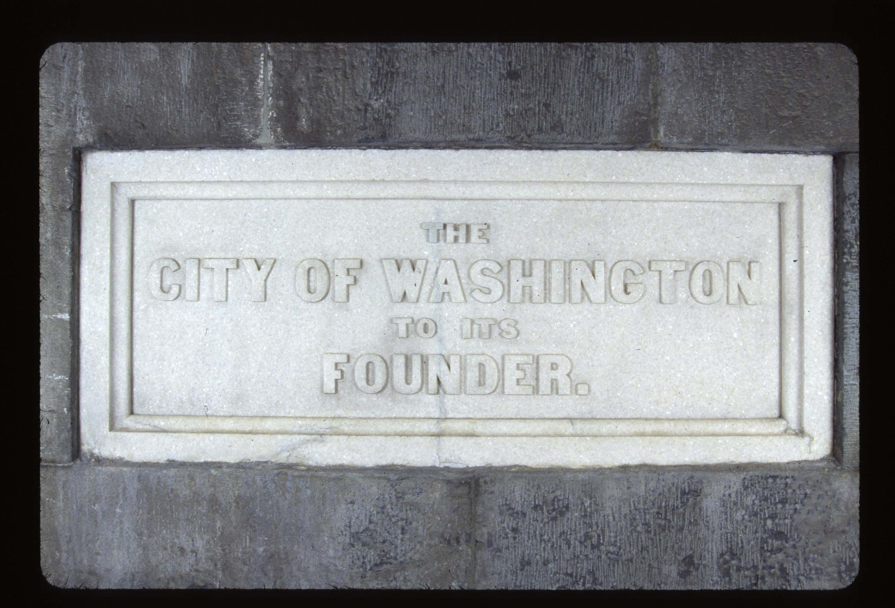 <p>There are many commemorative stones inside the Washington Monument. This one is D.C.&#8217;s.</p>