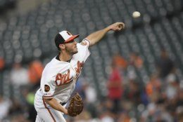 Baltimore Orioles starting pitcher Ty Blach throws during the first inning of the team's baseball game against the Los Angeles Dodgers, Tuesday, Sept. 10, 2019, in Baltimore. (AP Photo/Nick Wass)