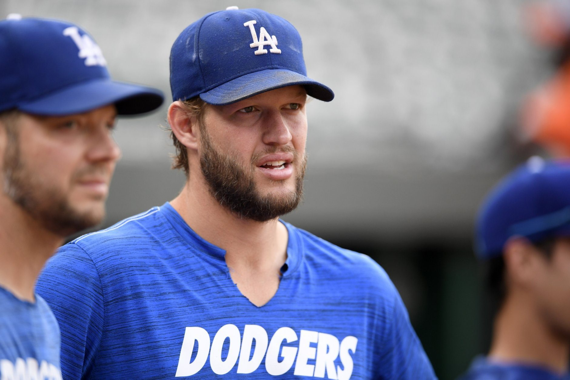 Los Angeles Dodgers' Clayton Kershaw stands on the field before a baseball game against the Baltimore Orioles, Tuesday, Sept. 10, 2019, in Baltimore. (AP Photo/Nick Wass)