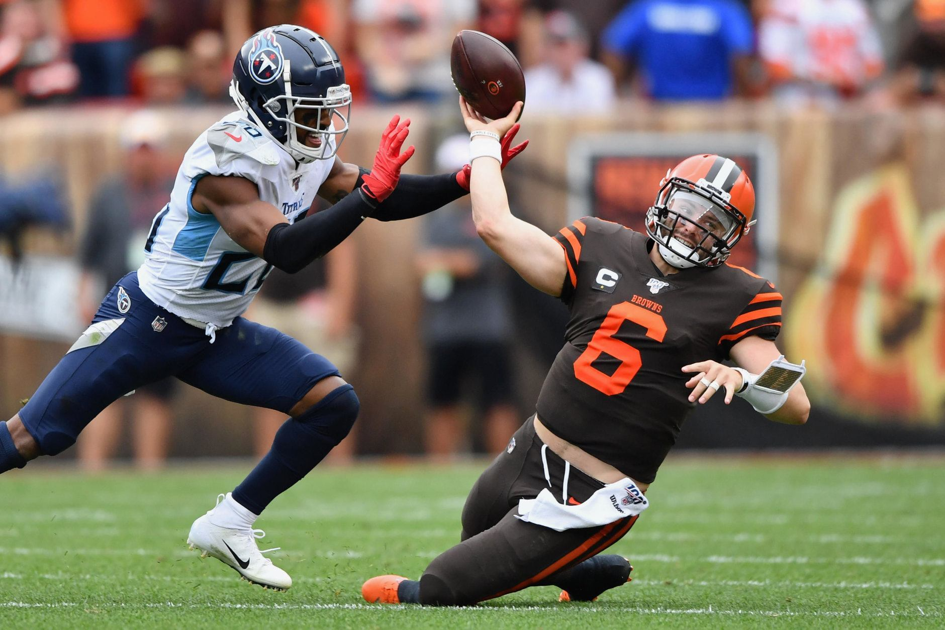 "<p><b><i>Titans 43</i></b><br /> <b><i>Browns 13</i></b></p> <p>Even with their much-improved roster, Cleveland saw the Browns commit 18 penalties, Baker Mayfield throw as many fourth quarter completions as interceptions (3) en route to an NFL-record 15 straight losses in season openers. The Browns aren&#8217;t as bad as <a href=""https://ftw.usatoday.com/2019/09/nfl-cleveland-browns-titans-delanie-walker-dennis-green-take"">Delanie Walker would lead you to believe</a>, but perhaps they&#8217;re not nearly as good as their considerable hype.</p>"