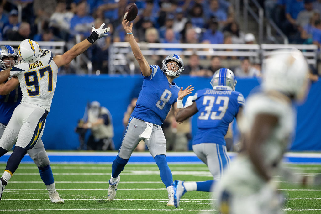 <p><b><i>Chargers 10</i></b><br /> <b><i>Lions 13</i></b></p> <p>In a battle of two of the NFL's most durable-yet-underachieving passers, Matthew Stafford did a little more than Philip Rivers to give Detroit what will almost surely be their best win of 2019.</p>