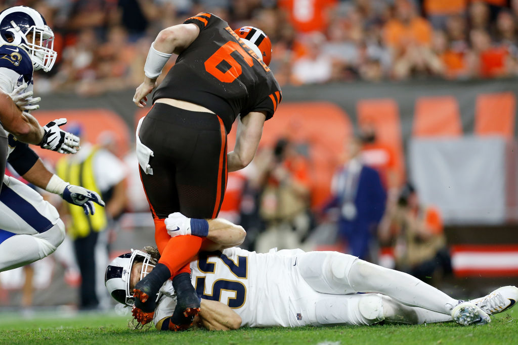 "<p><b><i>Rams 20</i></b><br /> <b><i>Browns 13</i></b></p> <p>In a battle of former No. 1 picks at QB and Cleveland&#8217;s first Sunday night game in 11 years, neither Jared Goff nor Baker Mayfield looked particularly good and the Browns certainly didn&#8217;t look ready for primetime — in more ways than one. While I&#8217;m not ready to say the Dawg Pound&#8217;s playoff hopes are a case of barking up the wrong tree, Baker&#8217;s slow start should remind us a trip to the postseason is not the foregone conclusion <a href=""https://profootballtalk.nbcsports.com/2019/09/21/baker-mayfield-browns-players-expect-a-playoff-berth/"">he thinks it is</a>.</p>"