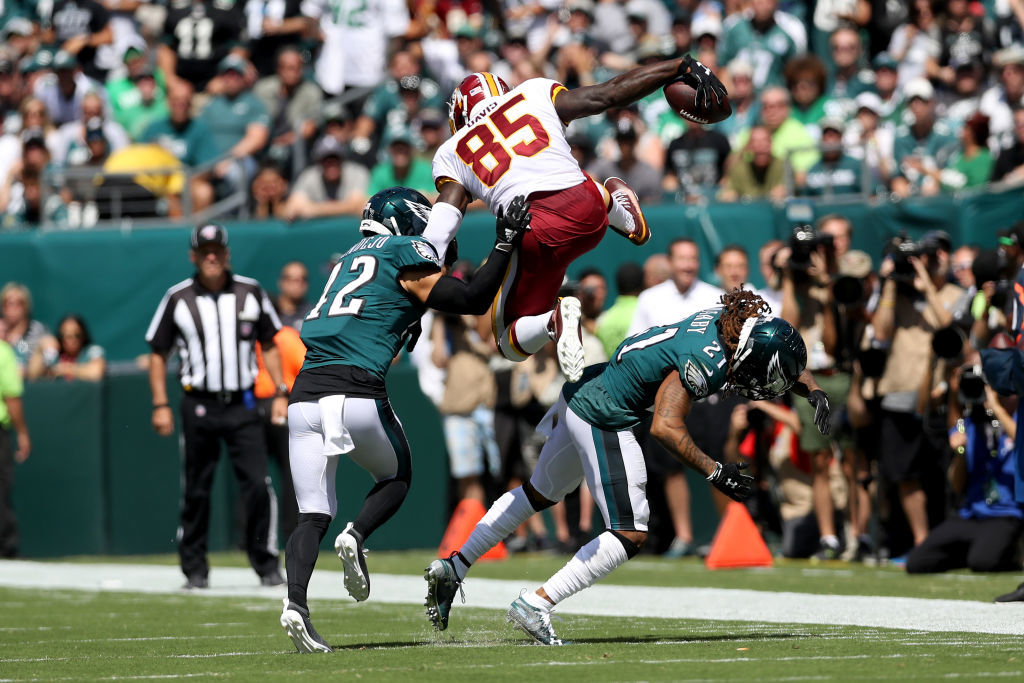 "<p><b><i>Redskins 27</i></b><br /> <b><i>Eagles 32</i></b></p> <p>Forget the blown 17-point lead or DJax scorching his former team (again), or the organizational arrogance of making last year&#8217;s leading rusher Adrian Peterson a healthy scratch for the first time in his career (on a day in which they were held to 28 yards rushing, I might add). I&#8217;ll remember this game for <a href=""https://www.espn.com/blog/washington-redskins/post/_/id/38966/watch-redskins-vernon-davis-hurdles-way-to-48-yard-td"">Vernon Davis&#8217; inspired 48-yard touchdown</a> that gives him the sixth-most TD catches in NFL history among tight ends.</p>"