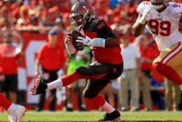 <p><b><i>49ers 31</i></b><br /> <b><i>Bucs 17</i></b></p> <p>Two of Jameis Winston&#8217;s three interceptions were run back for touchdowns on the day he surpassed Blake Bortles for the most career games (17) with multiple picks since entering the league in 2015. Whenever your quarterback is mentioned in the same breath as The Human Turnover, your season is doomed.</p>
