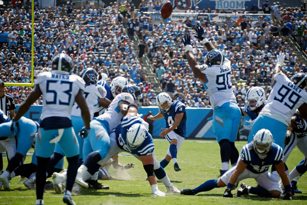 "<p><b><i>Colts 19</i></b><br /> <b><i>Titans 17</i></b></p> <p>Tennessee: Where <a href=""https://deadspin.com/titans-home-debut-features-on-field-fireball-1838130393?utm_medium=socialflow&amp;utm_campaign=socialflow_deadspin_facebook&amp;utm_source=deadspin_facebook&amp;fbclid=IwAR0mNpiMJ35muTSsAvG9EVJopSWjA9y98A450P_5b6BtH_d4k82h3CihzxY  "">the turf gets lit up</a> and the Titans do, too.</p> <p>Seriously, though. Indianapolis has won 19 of the last 22 games between these two teams and stand just a rapidly-decaying Adam Vinatieri away from a remarkable 2-0 start to the post-Luck era. Here&#8217;s hoping the greatest kicker of all-time rights the ship and gets to complete what is surely the final season of his Hall-of-Fame career.</p>"