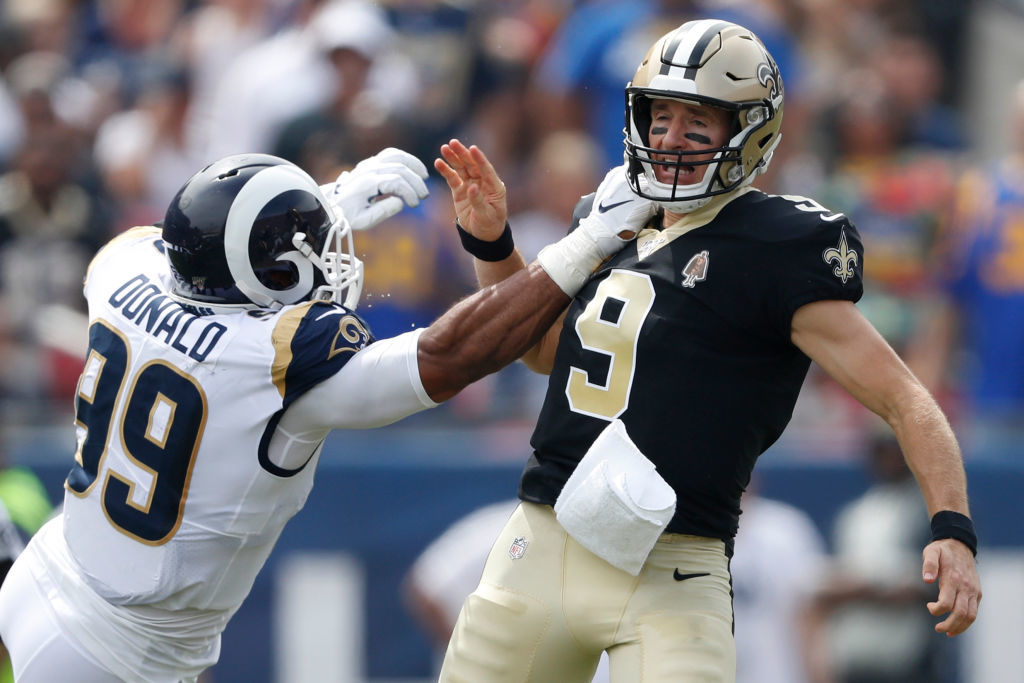 "<p><b><i>Saints 9</i></b><br /> <b><i>Rams 27</i></b></p> <p>New Orleans were <a href=""https://deadspin.com/if-you-can-believe-it-the-saints-got-horribly-screwed-1838133201?utm_source=deadspin_facebook&amp;utm_campaign=socialflow_deadspin_facebook&amp;utm_medium=socialflow&amp;fbclid=IwAR14E1b-oCGywQipWko2vRzSCCQvMTAkQ8CJUZAGB9S8VoxJpVSofQBKNz0"">screwed again</a> in a loss to the Rams, but it&#8217;s hard to get as fired up about it this time around when, 1) the Saints lost their future Hall of Fame QB to an injury that <a href=""https://twitter.com/garlandgillen/status/1173392202799747072"">could keep him out for a while</a>, and 2) the game wasn&#8217;t close enough for the officiating gaffe to matter. The last meeting between these teams may be <a href=""https://profootballtalk.nbcsports.com/2019/09/12/drew-brees-never-will-forget-the-ending-of-the-2018-nfc-championship/"">unforgettable</a>, but this one might mark the end of the Saints&#8217; run in Super Bowl contention if Brees is out for an extended period of time.</p>"