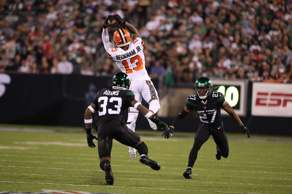 "<p><b><i>Browns 23</i></b><br /> <b><i>Jets 3</i></b></p> <p>A week after <a href=""https://profootballtalk.nbcsports.com/2019/09/08/obj-makes-browns-debut-wearing-a-350000-watch/"" target=""_blank"" rel=""noopener"">wearing a ridiculously expensive watch on the field</a> in a blowout loss, Odell Beckham Jr. triumphantly returned to the Meadowlands and stuck it to <a href=""https://nypost.com/2019/09/15/odell-beckham-gregg-williams-war-the-center-of-suddenly-huge-jets-game/"" target=""_blank"" rel=""noopener"">his archnemesis Gregg Williams</a> with his career-high 89-yard TD catch to highlight his monster primetime debut for Cleveland. If nothing else, these Browns are fun to watch.</p>"