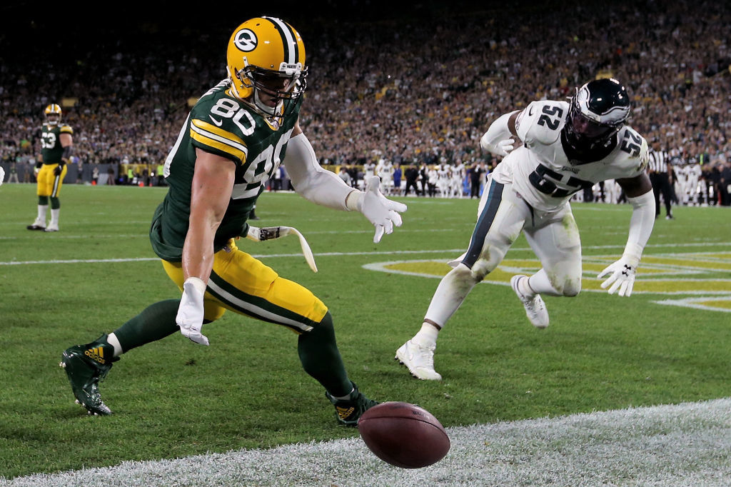 """<p><b><i>Eagles 34</i></b><br /> <b><i>Packers 27</i></b></p> <p>In a season in which they've been screwed by <a href=""""https://www.nbcsports.com/washington/nationals/nfl-reportedly-banked-phillies-making-mlb-postseason-and-it-looks-backfired"""">the underachieving Phillies</a>, the Iggles stayed undefeated on Thursdays under Doug Pederson to save their season in a suddenly-competitive NFC East.</p> <p>Meanwhile, Green Bay&#8217;s best offensive output comes with an asterisk; Aaron Rodgers&#8217; four incompletions at the 1-yard line are the most by any QB in any quarter in the last 40 years, and <a href=""""https://profootballtalk.nbcsports.com/2019/09/27/aaron-rodgers-suffers-first-home-loss-when-leading-by-double-digits/"""">this historic blown lead</a> perhaps drives an even bigger wedge between him and his new coach.</p>"""