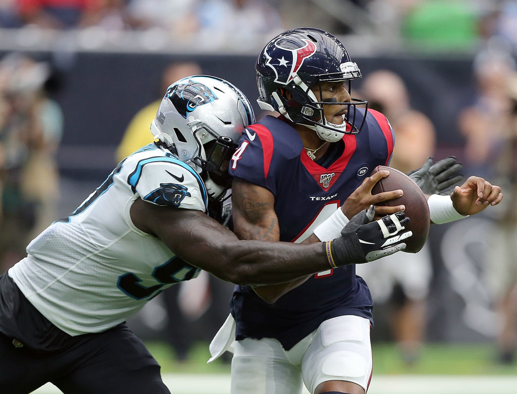 <p><b><i>Panthers 16</i></b><br /> <b><i>Texans 10</i></b></p> <p>Houston&#8217;s season comes down to this: Will Deshaun Watson (sacked six more times Sunday) survive long enough for the Texans O-line to get its act together?</p>