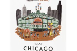 This photo provided by Rifle Paper Co. shows a gouache painting by Anna Bond of Wrigley Field in Chicago. The Winter Park Florida-based graphic designer, illustrator and co-founder of Rifle Paper Co., Bond is well-known for the charming floral illustrations that the company offers as stationery, wallpaper, home décor and fashion accessories. A series of gouache paintings she's done of destinations around the U.S. and beyond make charming wall art; Charleston, Chicago, New York and San Francisco are some of the cities in the collection. (Rifle Paper Co. via AP)