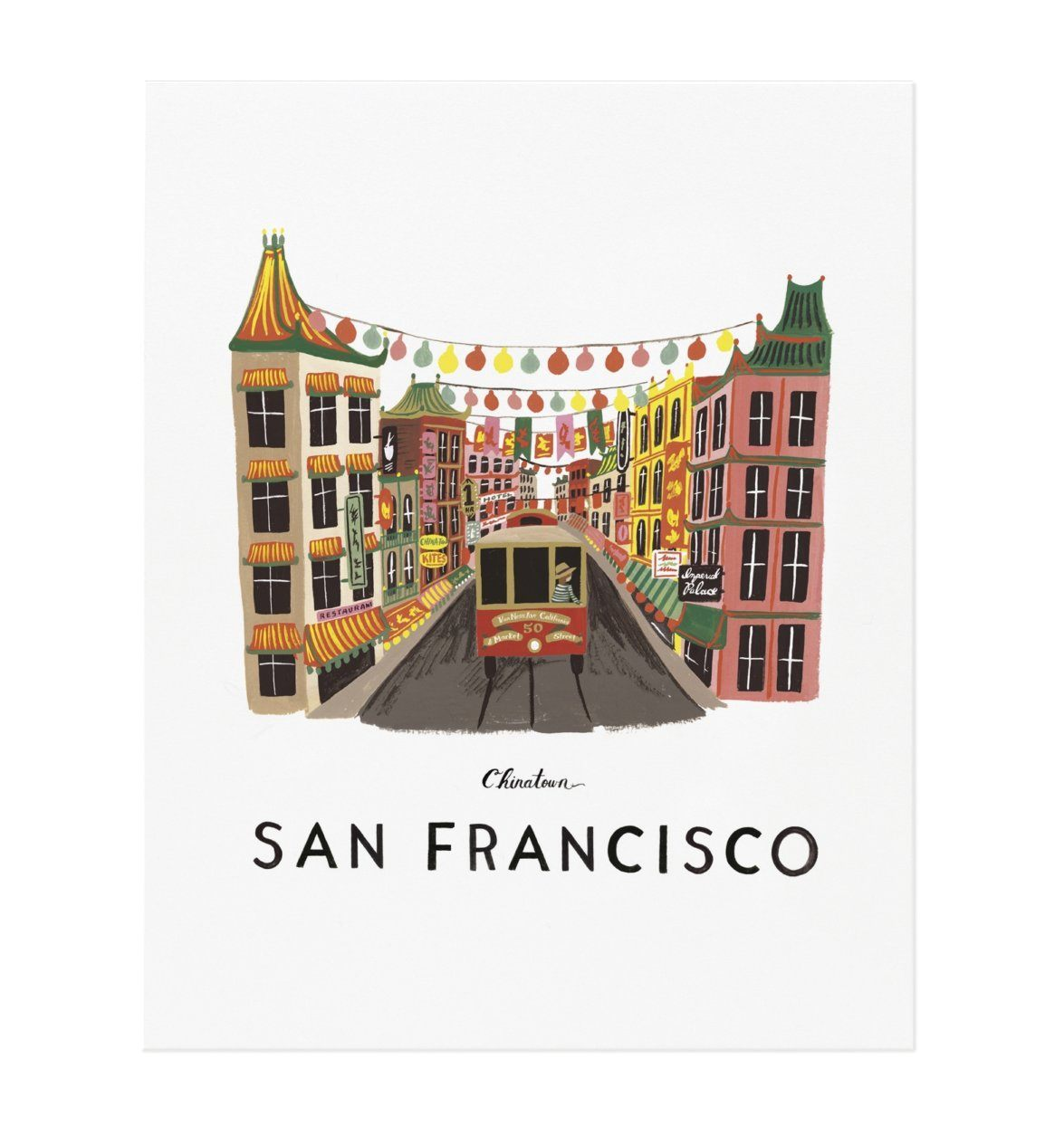 This photo provided by Rifle Paper Co. shows a gouache painting by Anna Bond of Chinatown in San Francisco. The Winter Park Florida-based graphic designer, illustrator and co-founder of Rifle Paper Co., Bond is well-known for the charming floral illustrations that the company offers as stationery, wallpaper, home décor and fashion accessories. A series of gouache paintings she's done of destinations around the U.S. and beyond make charming wall art; Charleston, Chicago, New York and San Francisco are some of the cities in the collection. (Rifle Paper Co. via AP)