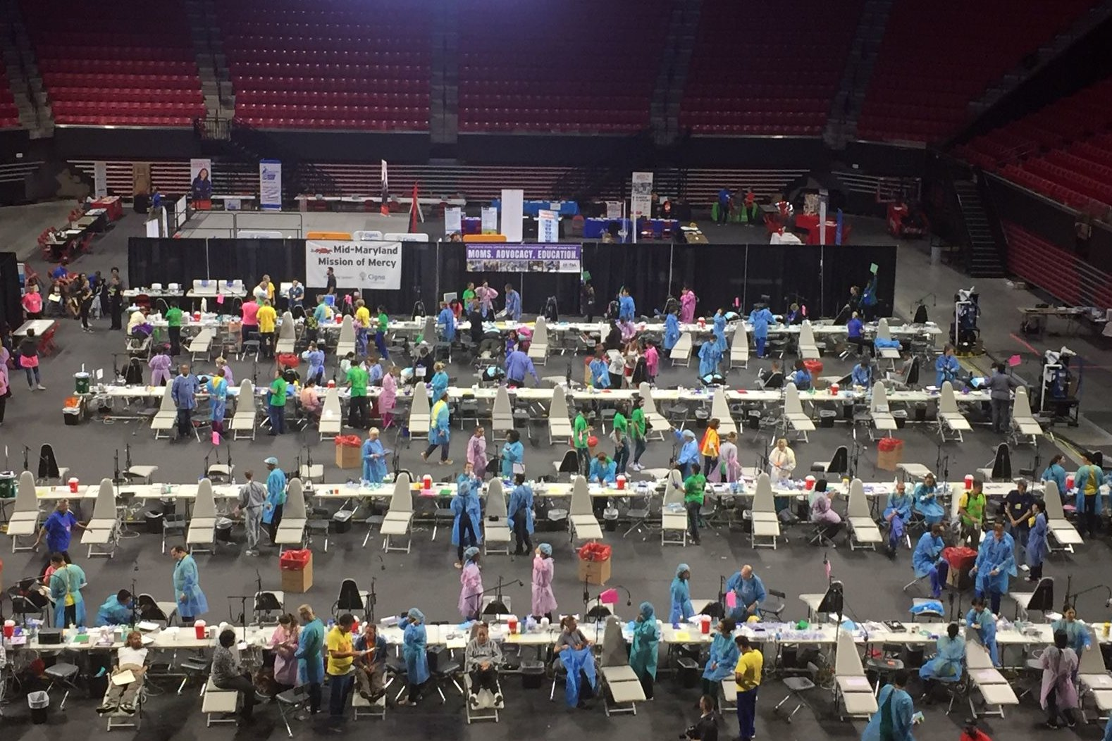 The Xfinity Center in College Park, Maryland, was converted to house scores of dentists, patients and medical equipment for free dental service on Sept. 13 and 14.