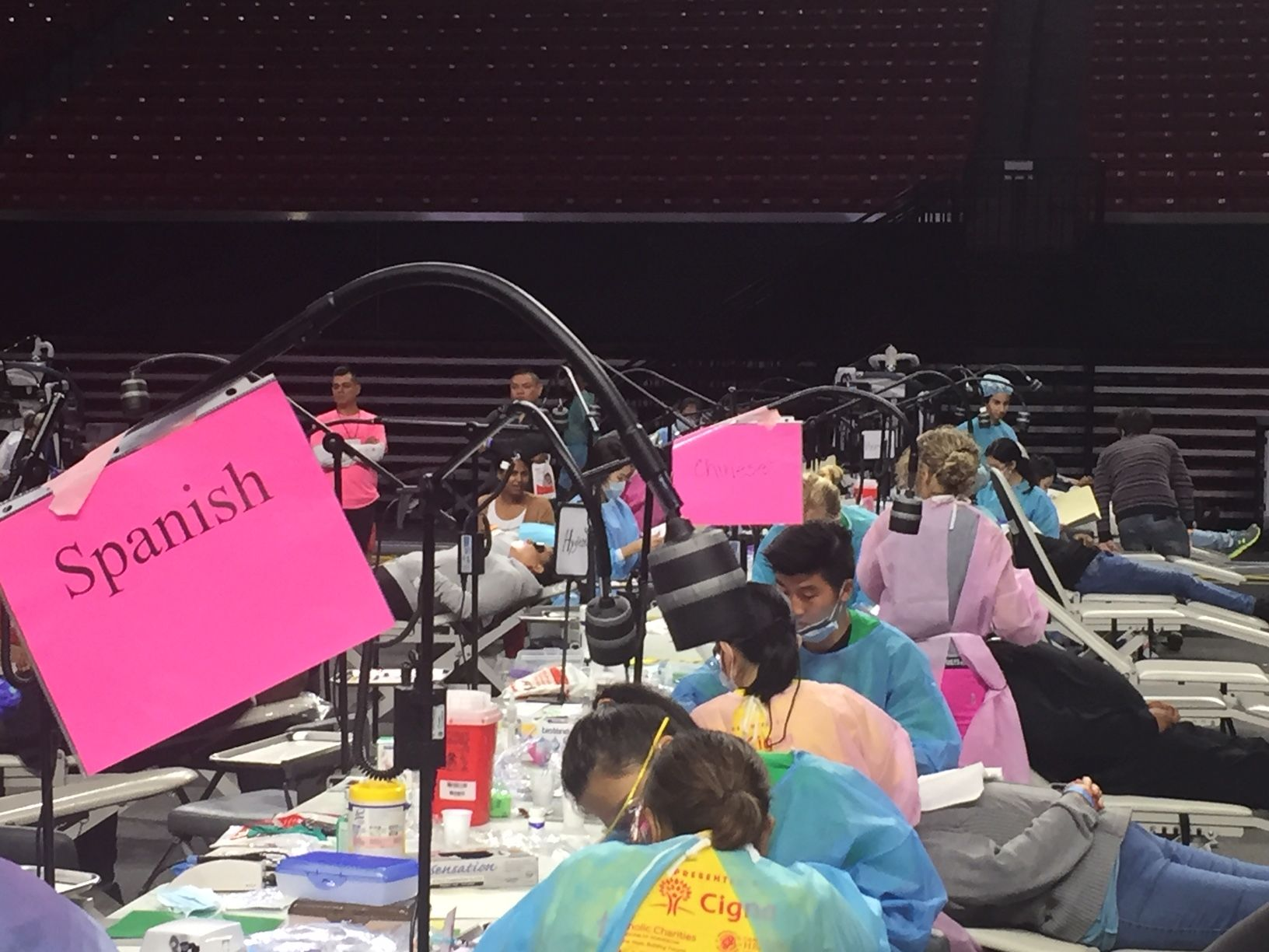 Booths set up to accommodate Spanish-speaking patients in the Xfinity Center.