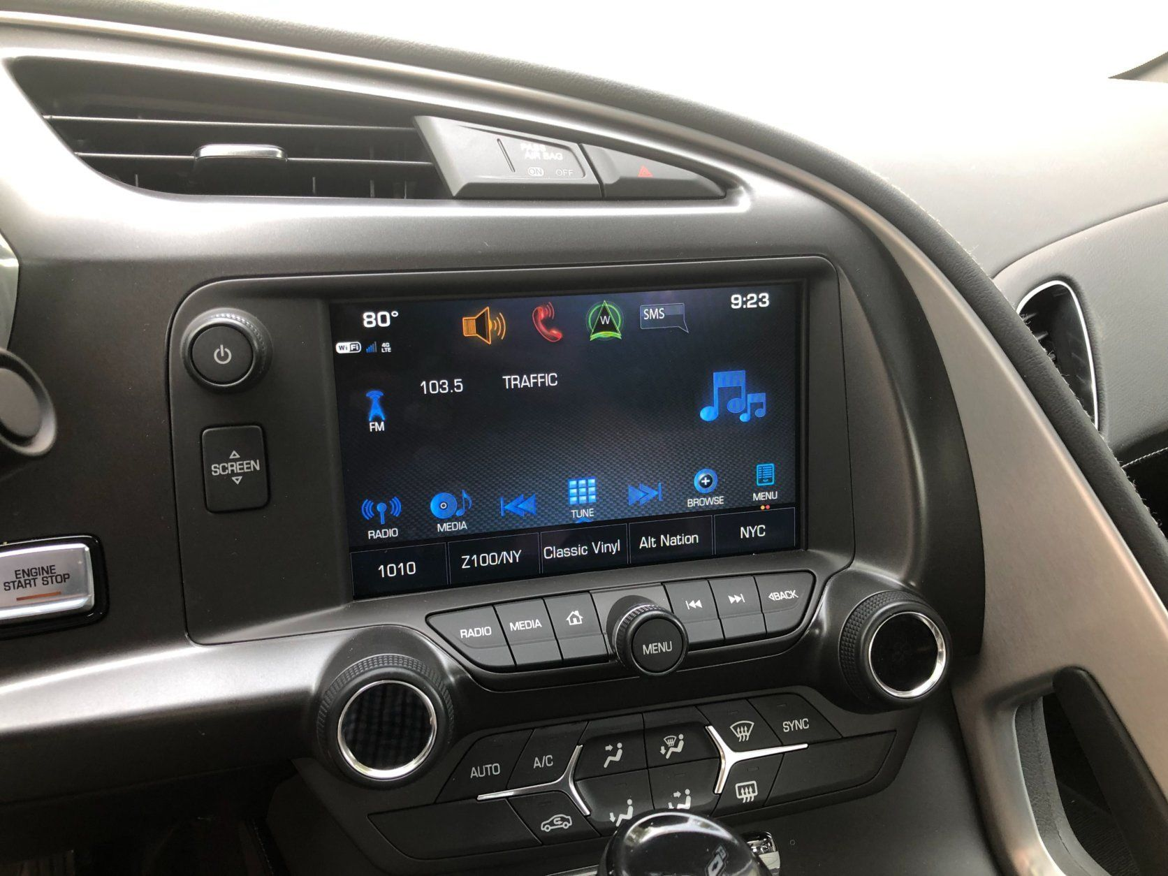 <p>Inside the Corvette Grand Sport is mostly a businesslike cockpit.</p> <p>There are three trim levels for the Grand Sport. I drove the 1LT or lowest trim level.</p> <p>It stickers for less than $69,000 but prices are much lower than sticker as dealers look to sell 2019 models.</p> <p>The heated leather seats kept me in place on twisty roads just fine. But if you are going to hit the track, I would spend the extra money for the sport bucket seats that are built for the high G forces this car can produce at speed.</p> <p>You sit pretty low in the Corvette and the Grand Sport has those larger fenders so vision is slightly compromised for shorter drivers.</p>