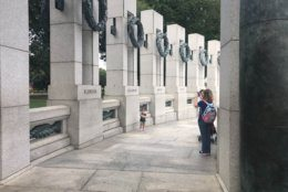 Visitors walk through the World War II memorial in Washington, D.C., on the 80th anniversary of the start of the conflict.