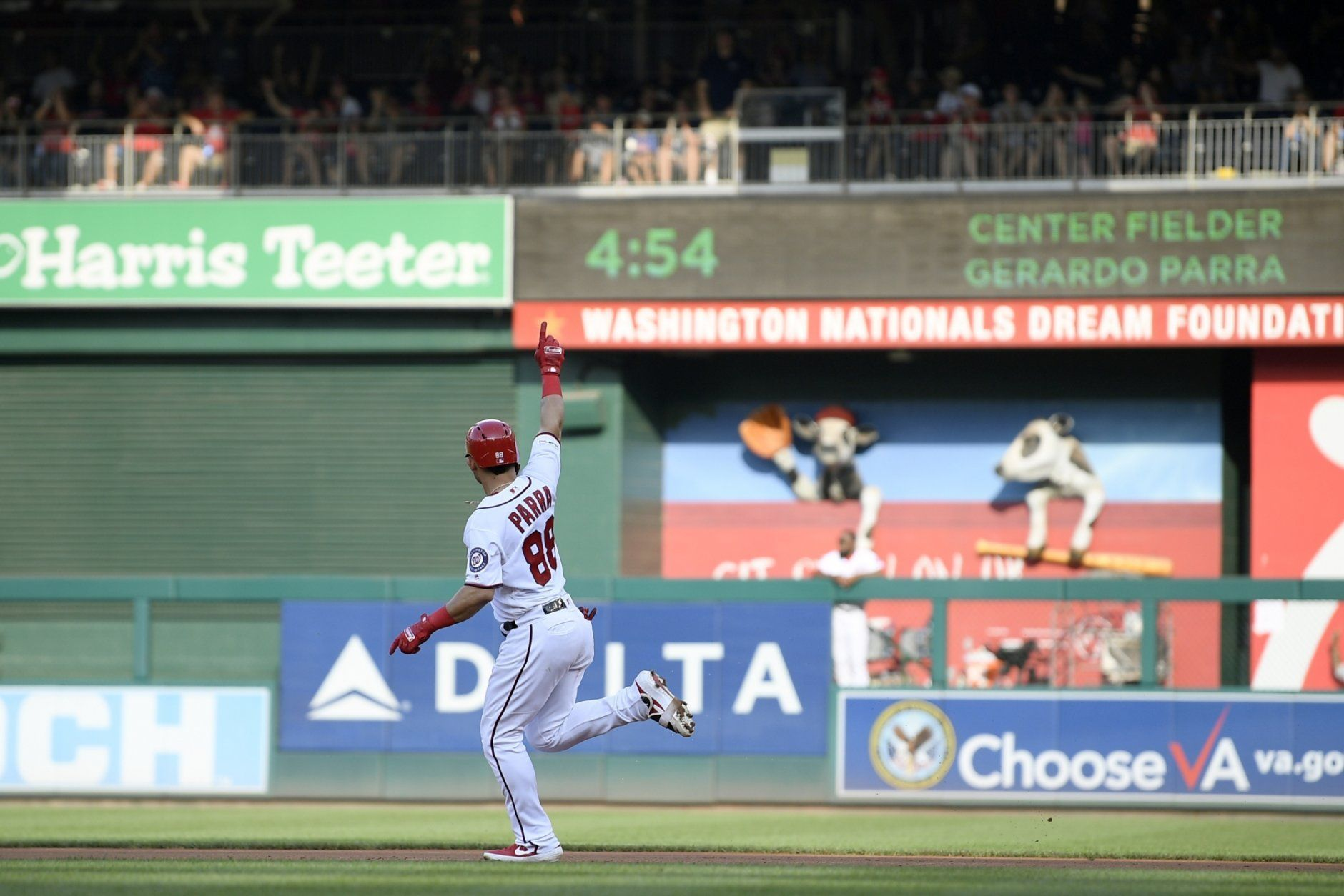 Washington Nationals' Gerardo Parra celebrates his grand slam as he rounds the bases during the second inning of a baseball game against the Cleveland Indians, Saturday, Sept. 28, 2019, in Washington. (AP Photo/Nick Wass)