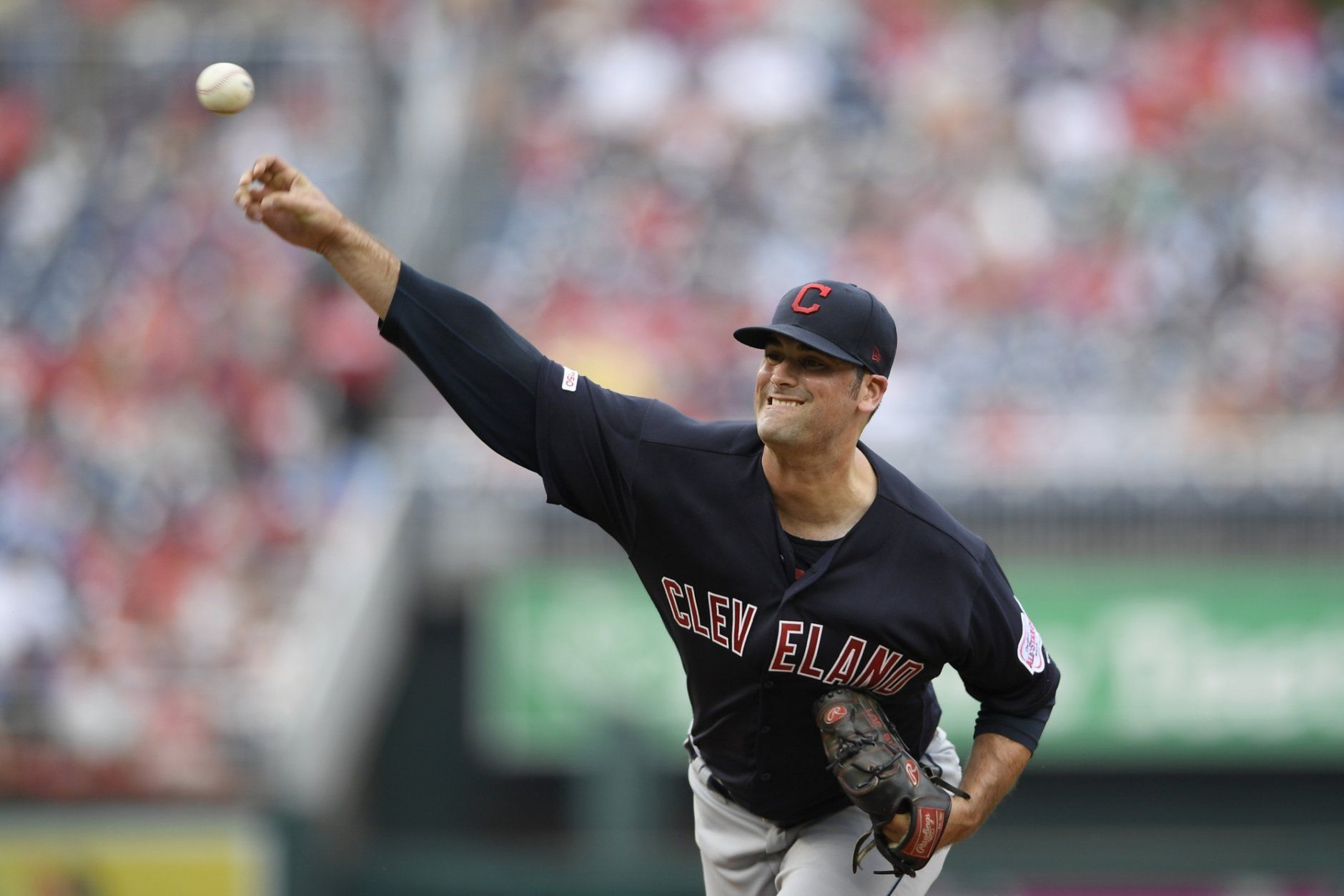 Cleveland Indians starting pitcher Adam Plutko delivers during the first inning of a baseball game against the Washington Nationals, Saturday, Sept. 28, 2019, in Washington. (AP Photo/Nick Wass)
