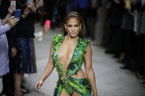 Milan Fashion: J-Lo struts updated jungle dress at Versace