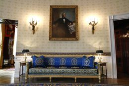 This Sept. 17, 2019, photo shows a piece of restored furniture in the Blue Room of the White House in Washington. The restoration was part of the improvement projects that first lady Melania Trump has overseen to keep the well-trod public rooms at 1600 Pennsylvania Avenue looking their museum-quality best. (AP Photo/Patrick Semansky)