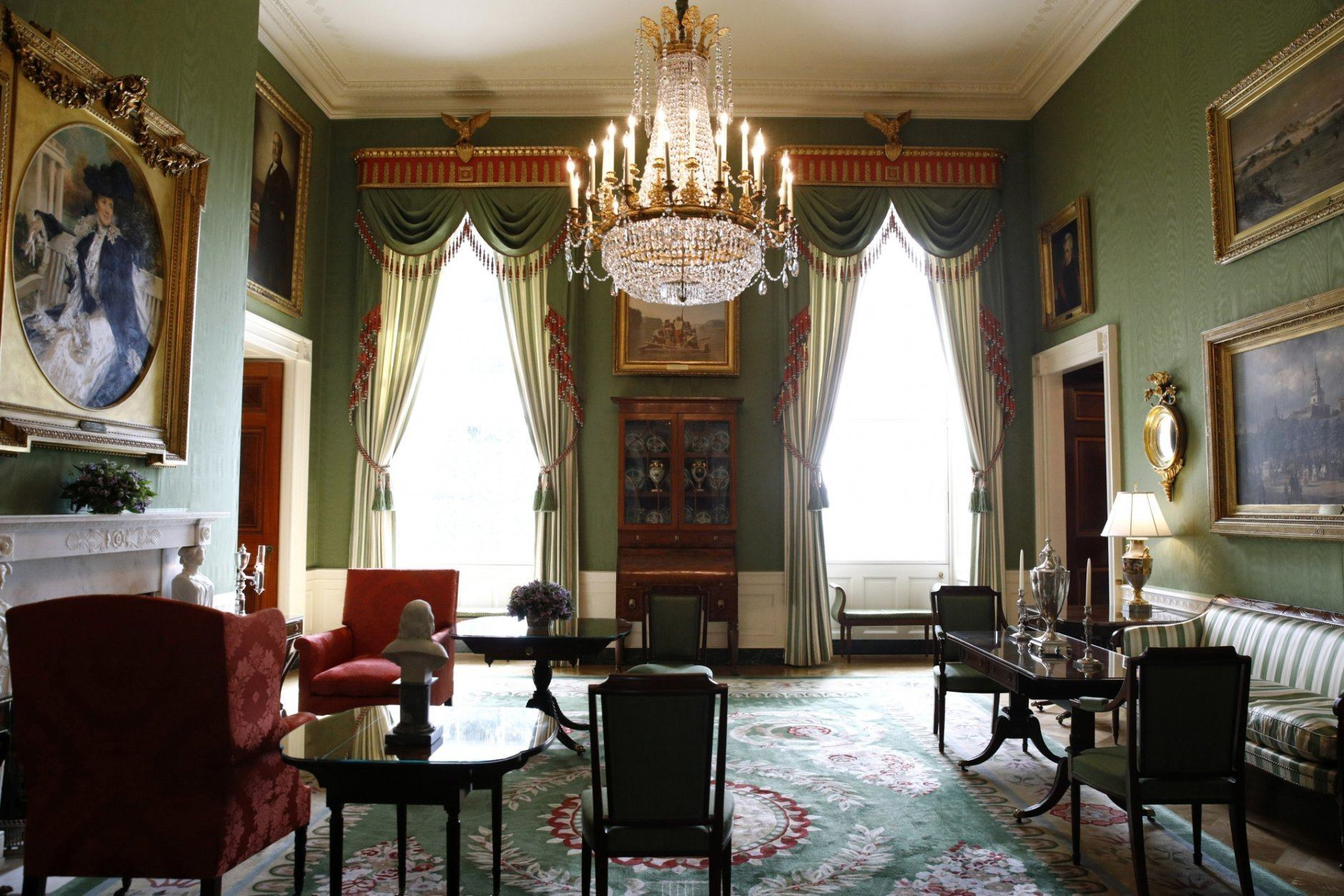 This Sept. 17, 2019, photo shows repurposed draperies in the Green Room of the White House in Washington, which are among the improvement projects that first lady Melania Trump has overseen to keep the well-trod public rooms at 1600 Pennsylvania Avenue looking their museum-quality best. (AP Photo/Patrick Semansky)