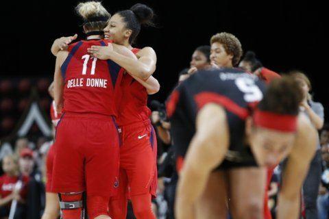 Mystics top Aces 94-90, reach WNBA Finals; LeBron courtside