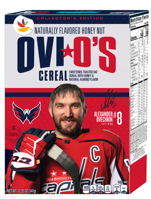 cereal box with Alex Ovechkin on it
