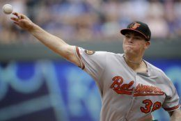 Baltimore Orioles starting pitcher Aaron Brooks throws during the first inning of a baseball game against the Kansas City Royals Sunday, Sept. 1, 2019, in Kansas City, Mo. (AP Photo/Charlie Riedel)