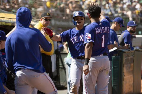 Rangers hit 5 HRs to halt A's surge in 8-3 win