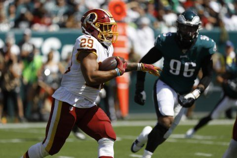 AP source: Redskins RB Guice undergoes MRI on right knee