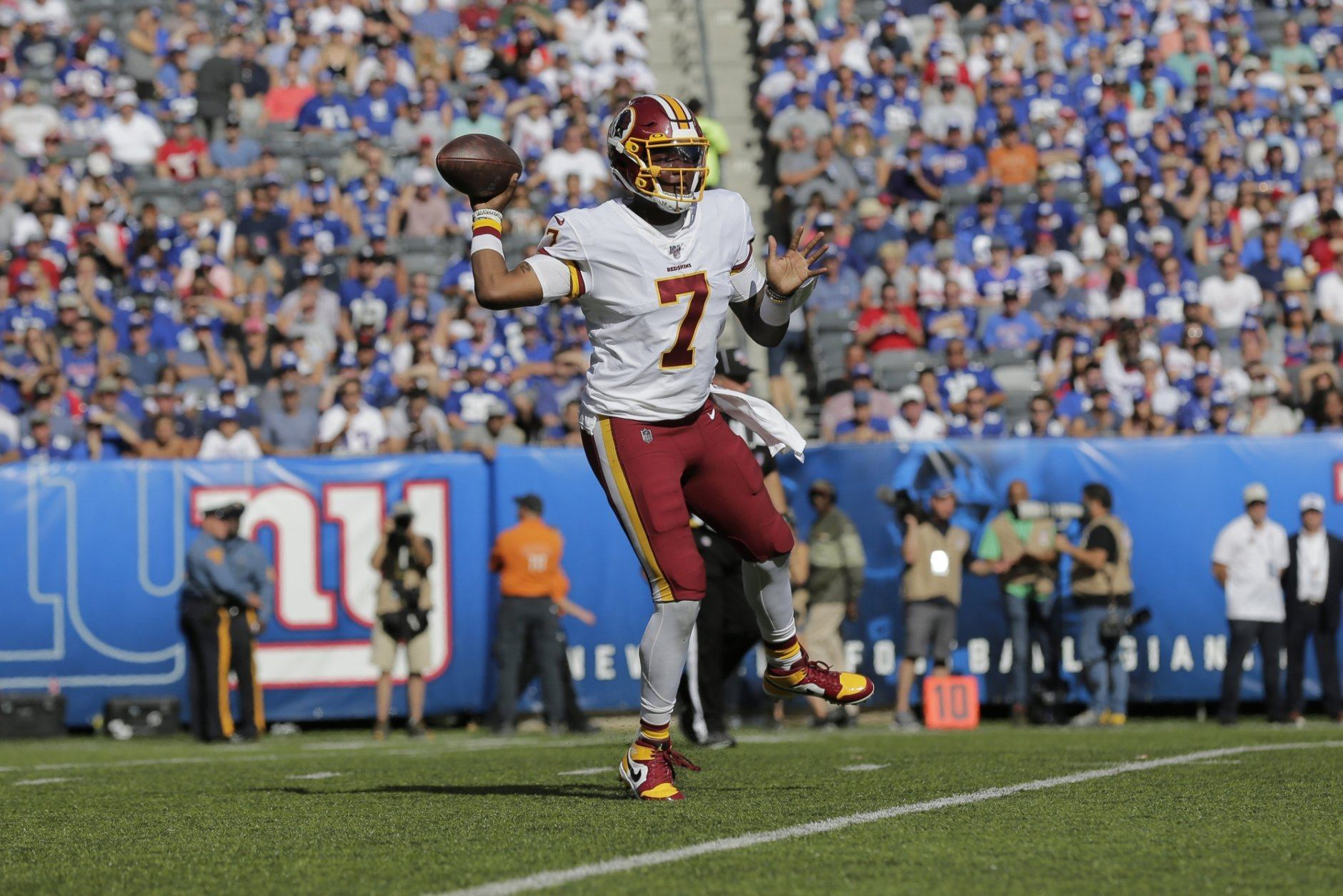 Washington Redskins quarterback Dwayne Haskins throws during the second half of an NFL football game against the New York Giants, Sunday, Sept. 29, 2019, in East Rutherford, N.J. (AP Photo/Adam Hunger)