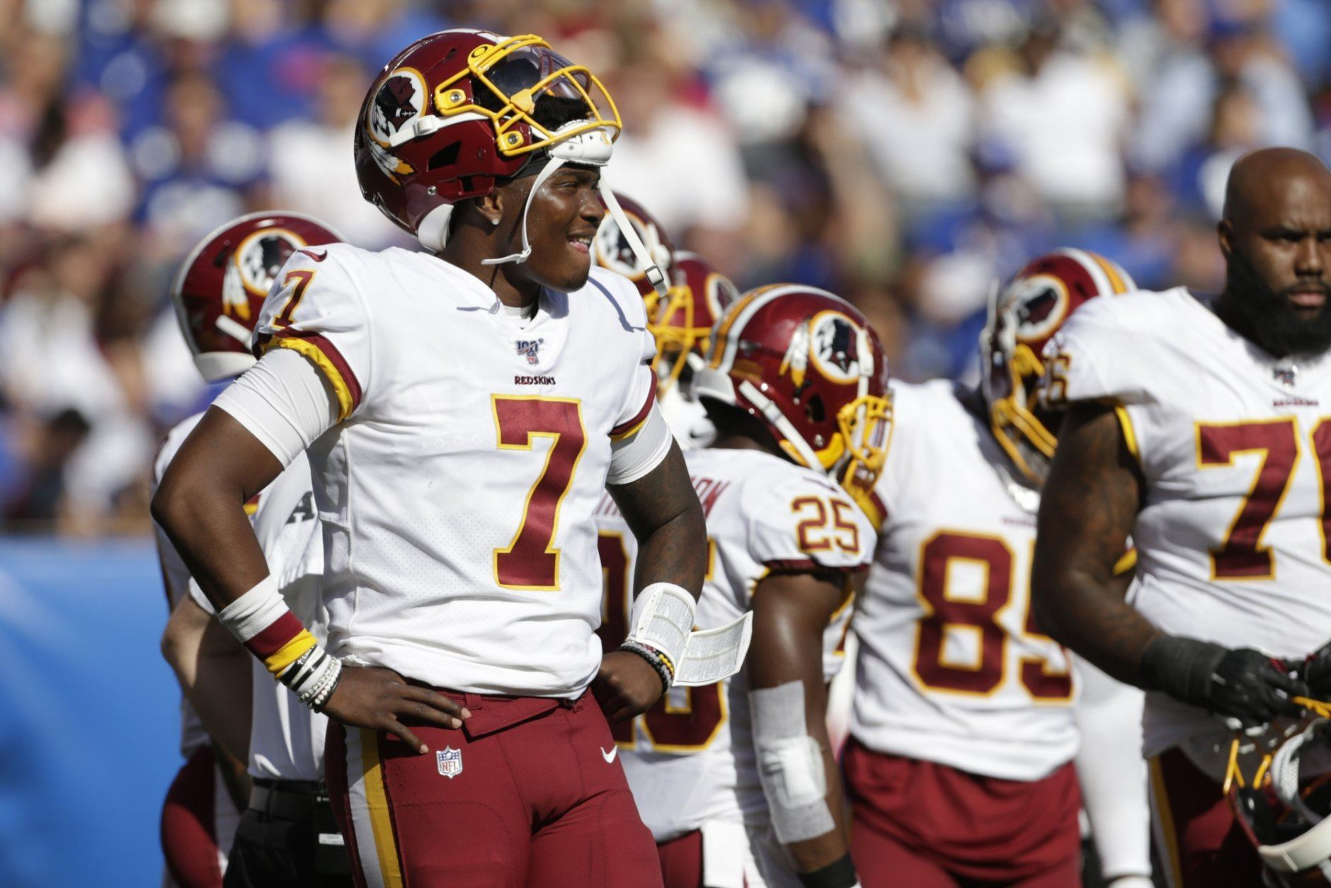 Washington Redskins quarterback Dwayne Haskins watches a play on the field during the second half of an NFL football game against the New York Giants, Sunday, Sept. 29, 2019, in East Rutherford, N.J. (AP Photo/Adam Hunger)