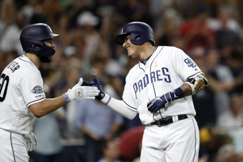 Machado, Myers homer to back Lucchesi in Padres' 3-0 win