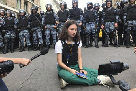 Moscow protesters sent to prison for using force on police