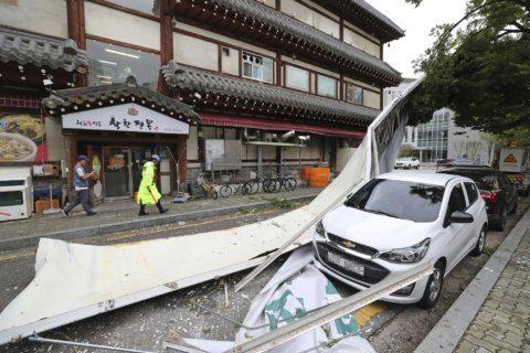 Typhoon kills 5 in North Korea, 3 in South Korea