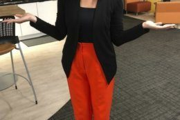 "This photo provided by Maggie Vespa, a weekend news anchor and TV reporter at NBC affiliate KGW-TV in Portland, Oregon, wearing one of five high-waisted pants that she wore for her five news casts over the weekend. Vespa wore the pants after a male viewer told her to ""dress like a normal woman"" in a message sent to her Facebook work account. Vespa also delivered an on-air commentary about the remarks on Sunday's late-night news with the support of her managers. She wanted to draw attention to the pressure that women who work in the public eye face on a daily basis. (Maggie Vespa via AP)"