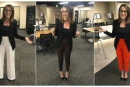 "This combination of photos provided by Maggie Vespa shows Vespa, a weekend news anchor and TV reporter at NBC affiliate KGW-TV in Portland, Oregon, wearing a variety of high-waisted pants she wore for five separate news casts over the weekend. Vespa wore the pants after a male viewer told her to ""dress like a normal woman"" in a message sent to her Facebook work account. She wanted to draw attention to the pressure that women who work in the public eye face on a daily basis. (Maggie Vespa via AP)"