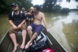 Jerran Pearson, left, and Ryan Bettencourt and his dog, Chief, are rescued by boat from their neighborhood flooded due to heavy rain spawned by Tropical Depression Imelda on Thursday, Sept. 19, 2019, in Patton Village, Texas. (Brett Coomer/Houston Chronicle via AP)